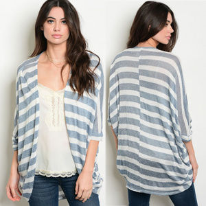 Open front cardigan w stripes, striped 3/4 sleeve